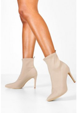 Womens Nude Pointed Stiletto Sock Boots