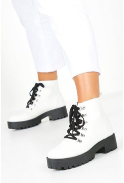 Dam White Chunky Lace Up Hiker Boots