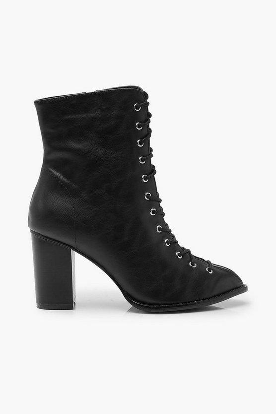 Lace Front Block Heel Shoe Boots