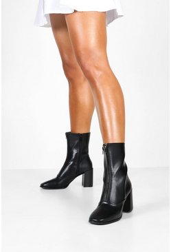 Black Zip Front Block Heel Sock Boots