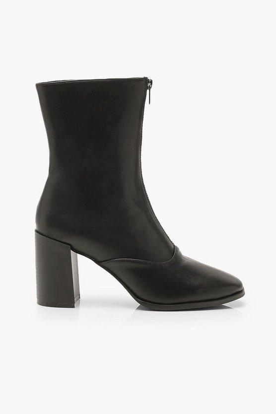 Zip Front Block Heel Sock Boots