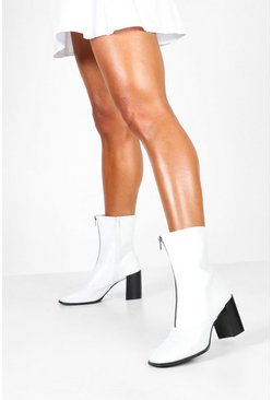 Womens White Zip Front Block Heel Sock Boots