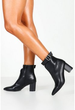 Womens Black Belt Detail Pointed Shoe Boots