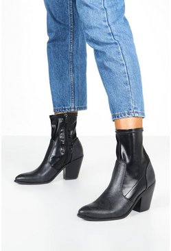 Womens Black Mix Material Sock Western Boots
