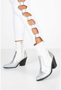 White Metallic Panel Sock Western Boots