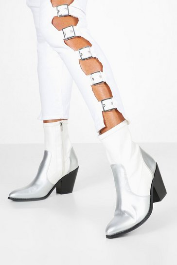 Womens White Metallic Panel Sock Western Boots