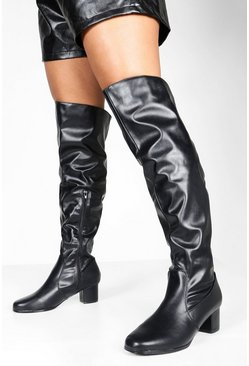 Womens Black Wider Leg Wide Fit Over The Knee Boots