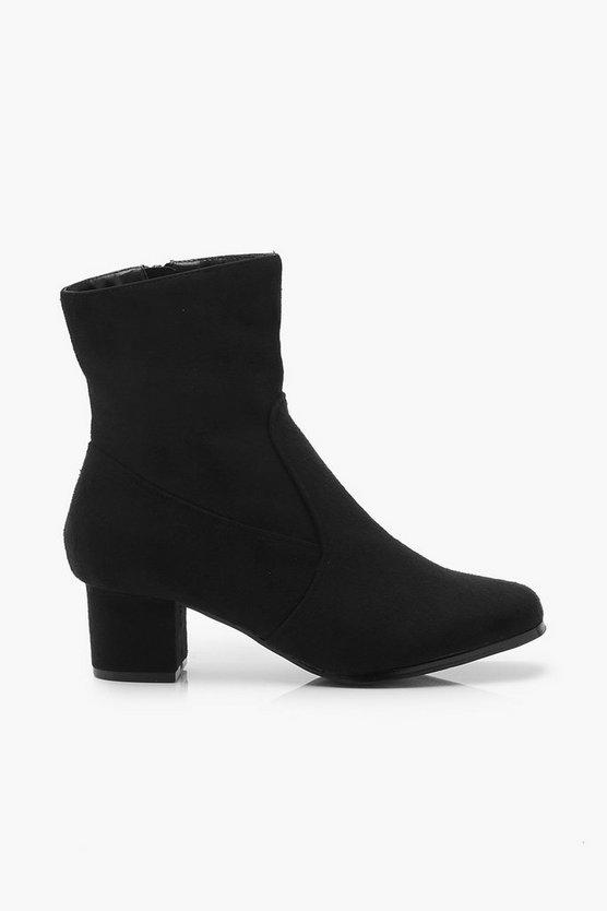 Wide Fit Low Block Heel Shoe Boots