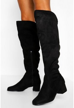 Black Wider Leg Wide Fit Over The Knee Boots