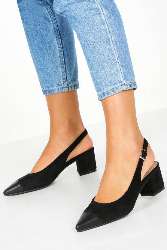 Contrast Toe Block Heel Ballets