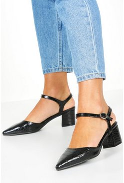 Womens Black Croc Block Heel Ballets