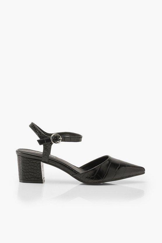 Croc Block Heel Ballets