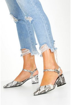 Womens Grey Snake Block Heel Ballets