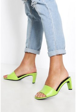 Womens Lime Low Flat Heel Mules
