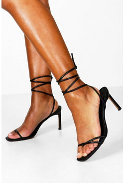 Black Wrap Strappy Heeled Sandals