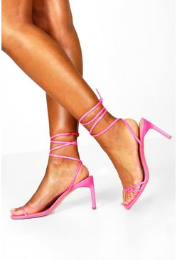 Hot pink Wrap Strappy Heeled Sandals