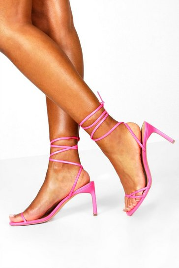 Womens Hot pink Wrap Strappy Heeled Sandals