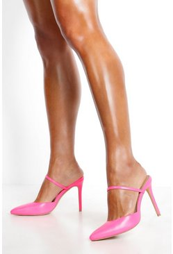 Hot pink Pointed Mule Court Shoes