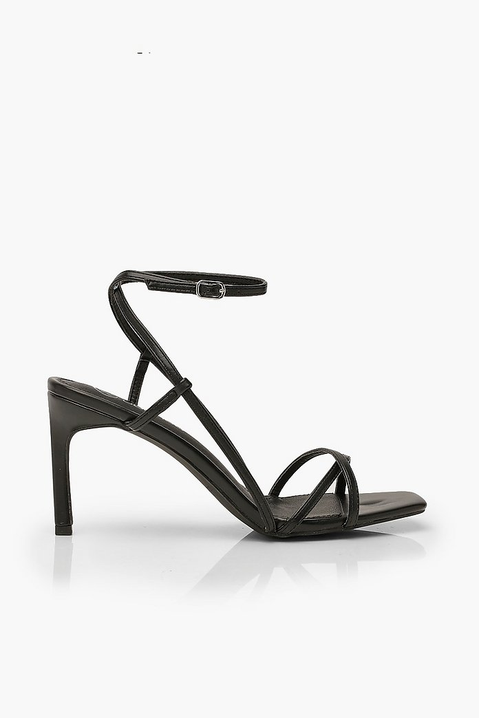 Strappy Square Toe Heeled Sandals | boohoo Australia