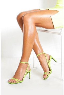 Lime Strappy Square Toe Heeled Sandals