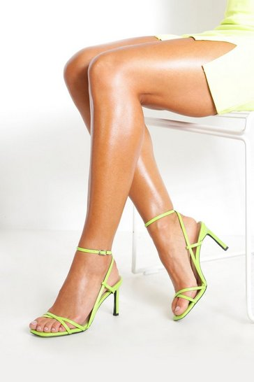 Womens Lime Strappy Square Toe Heeled Sandals