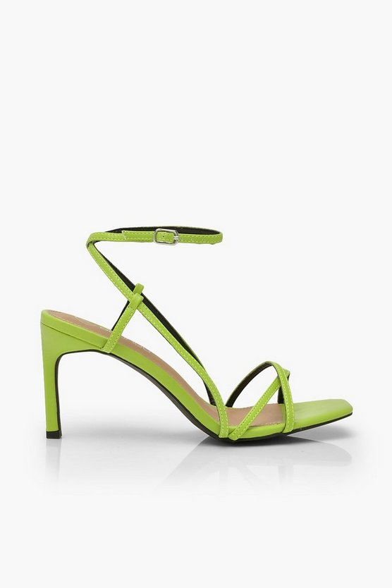 Strappy Square Toe Heeled Sandals