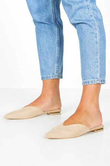 Womens Nude Metallic Heel Slip On Mule Flats