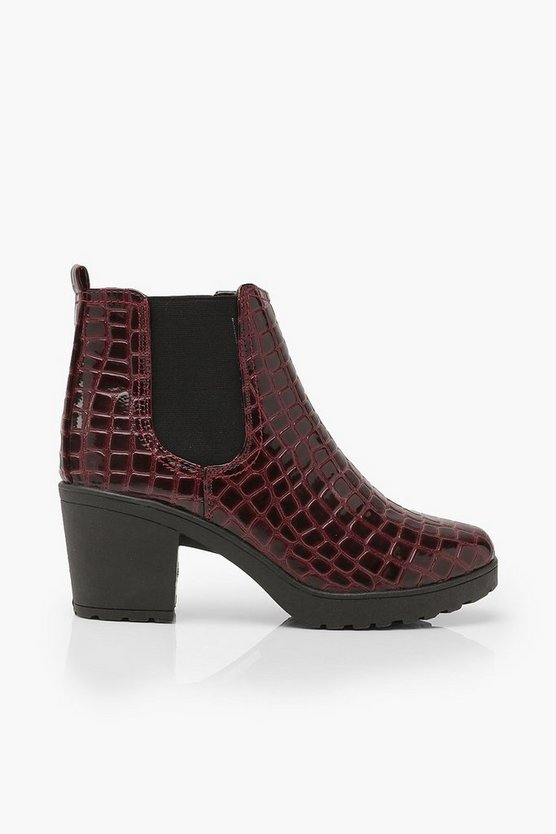 Croc Patent Chunky Chelsea Boots