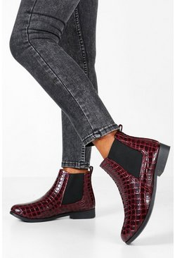 Bottines Chelsea en croco verni, Fruits rouges