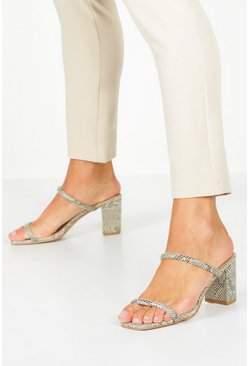 Womens Grey Double Band Block Heel Mules
