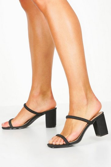 Womens Black Double Band Block Heel Mules