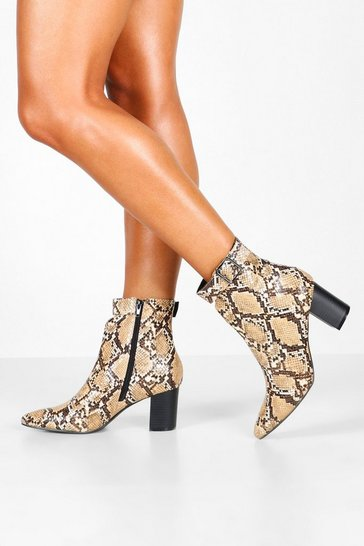 Womens Beige Snake Belt Detail Pointed Shoe Boots