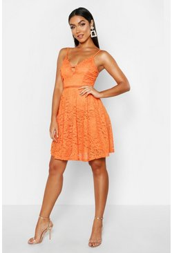 Orange Strappy V Front Lace Skater Dress