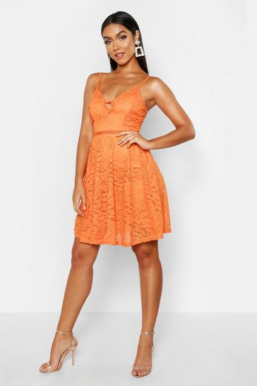 Womens Orange Strappy V Front Lace Skater Dress