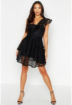 Womens Black One Shoulder Crochet Lace Skater Dress