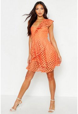 Orange One Shoulder Crochet Lace Skater Dress
