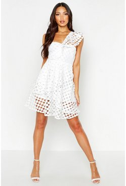 White One Shoulder Crochet Lace Skater Dress