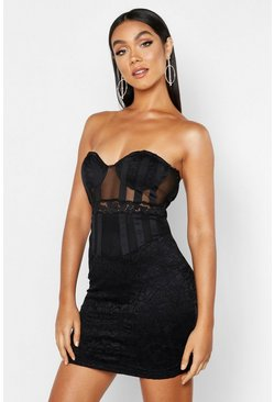 Black Bandeau Cupped Mesh Lace Mini Dress