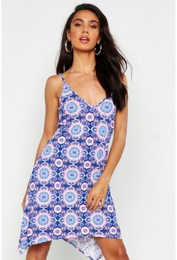 Womens Blue Neon Paisley Swing Dress
