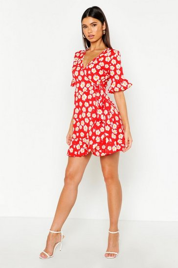 Womens Red Wrap Daisy Tea Dress