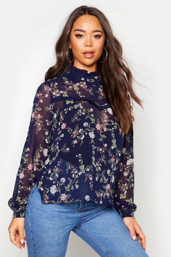 ruffle-floral-print-blouse by boohoo