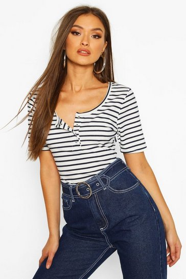 Womens White Stripe Rib Button T-Shirt