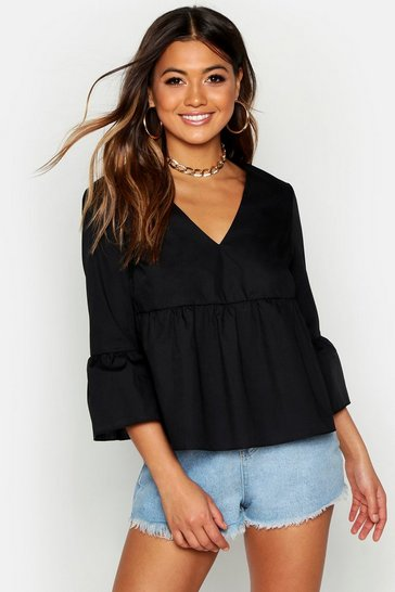 Womens Black V Neck Smock Top