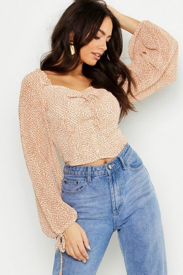 Tan Woven Ditsy Print Volume Sleeve Crop Top