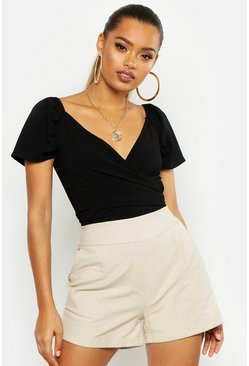 Womens Black Woven Puff Sleeve Bardot Top