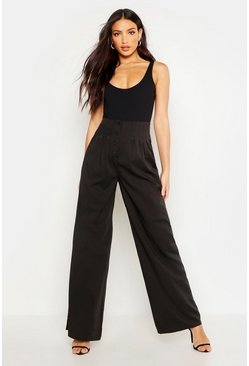 Womens Black Pleat Detail Button Front Wide Leg Trouser
