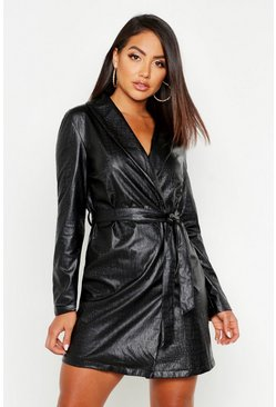 Womens Black Croc Pu Wrap Blazer Dress
