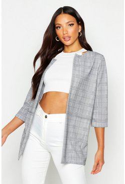Womens Black Checked Edge To Edge Jacket