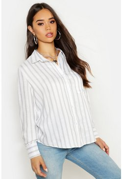Womens Grey Linen Look Stripe Oversize Shirt