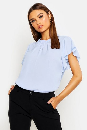 Womens Sky Woven Frill Sleeve & Neck Blouse